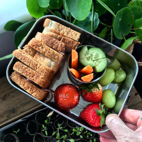 kids packed lunch in a rush, start with veggies, make it healthy