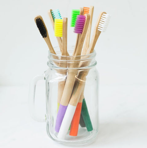 glass jar toothbrush reusable bamboo