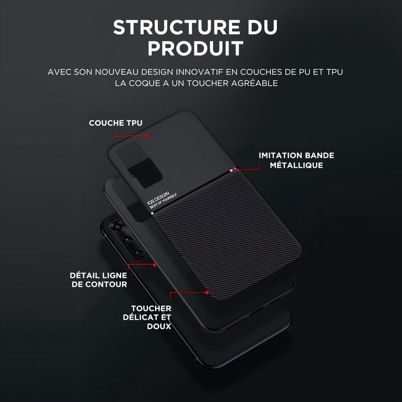 Coque Samsung Galaxy Note couleur mate unie compatible support magnétique
