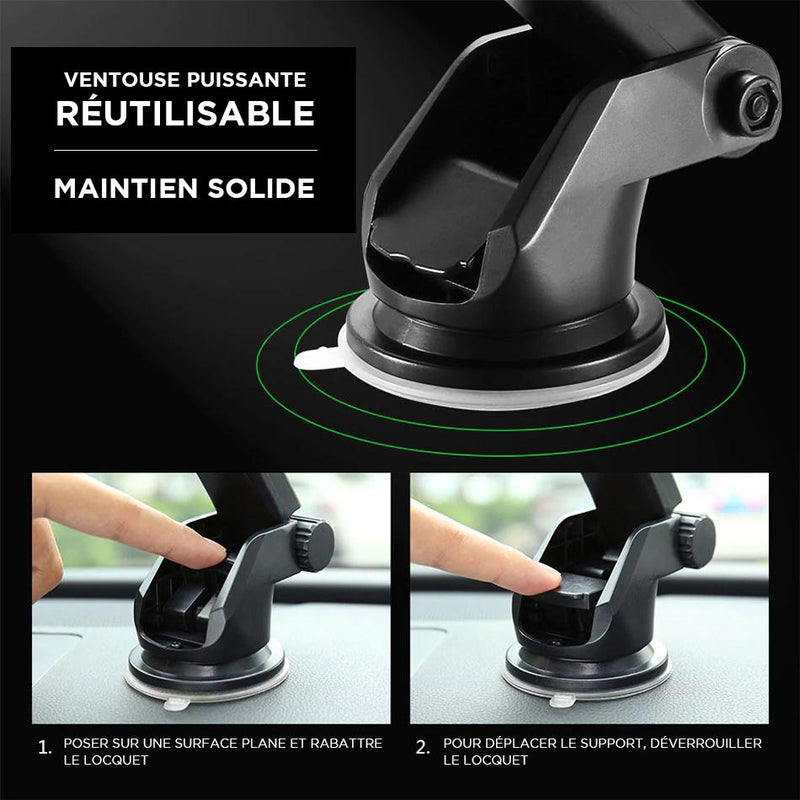support iphone en voiture avec ventouse