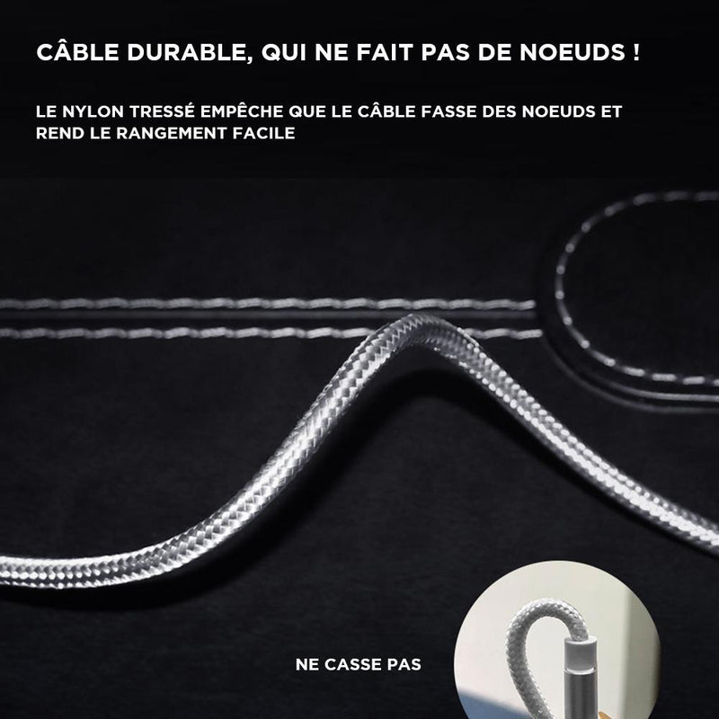 cable iphone sans noeuds ne s'emmele pas