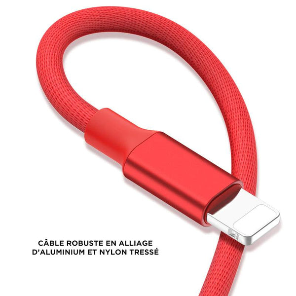 cable pour iphone rouge