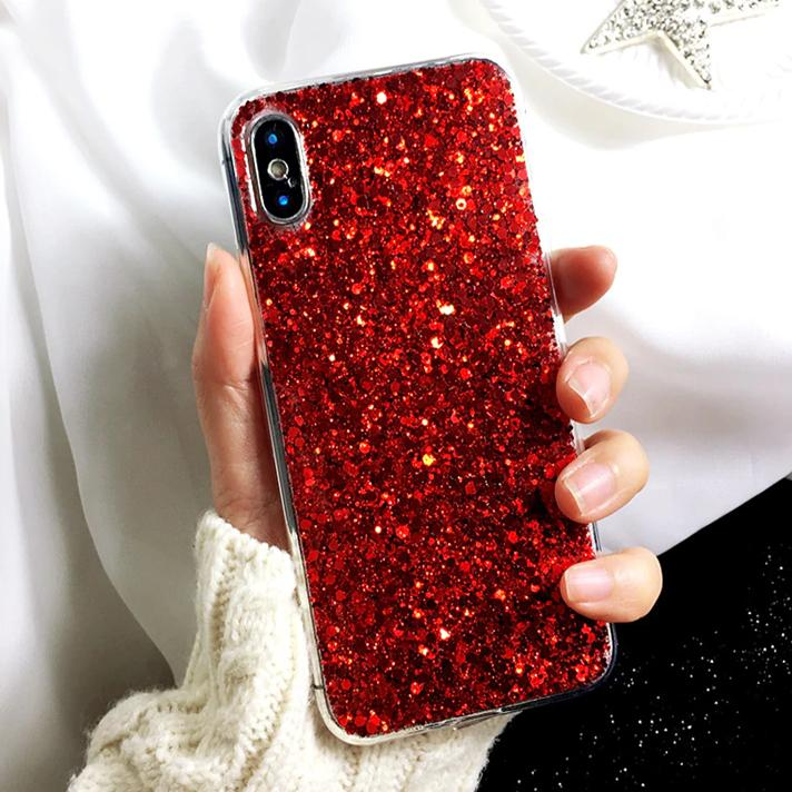 coque iPhone grandes paillettes rouges