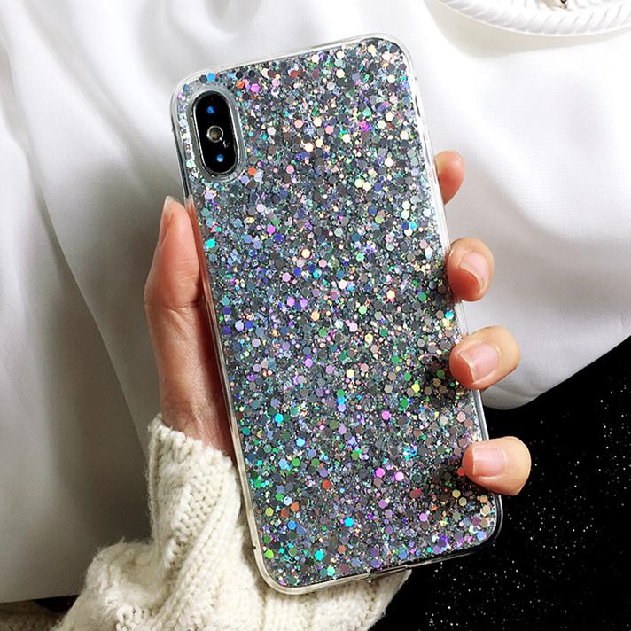 coque iPhone paillettes grises