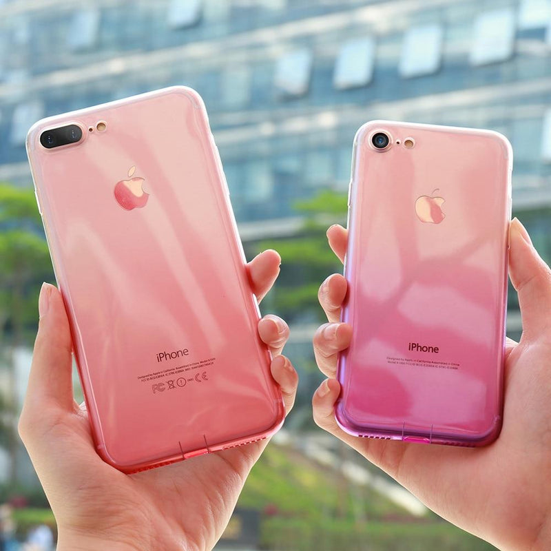 coque iphone transparente dégradé rose