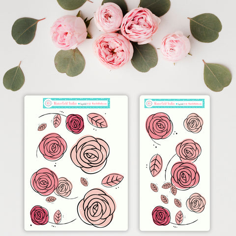 Rose Bud Art Deco Stickers