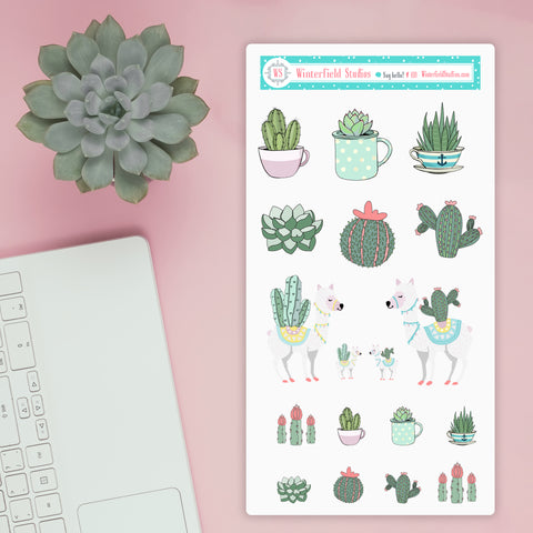 Simply Succulents Cactus Stickers Lama Stickers