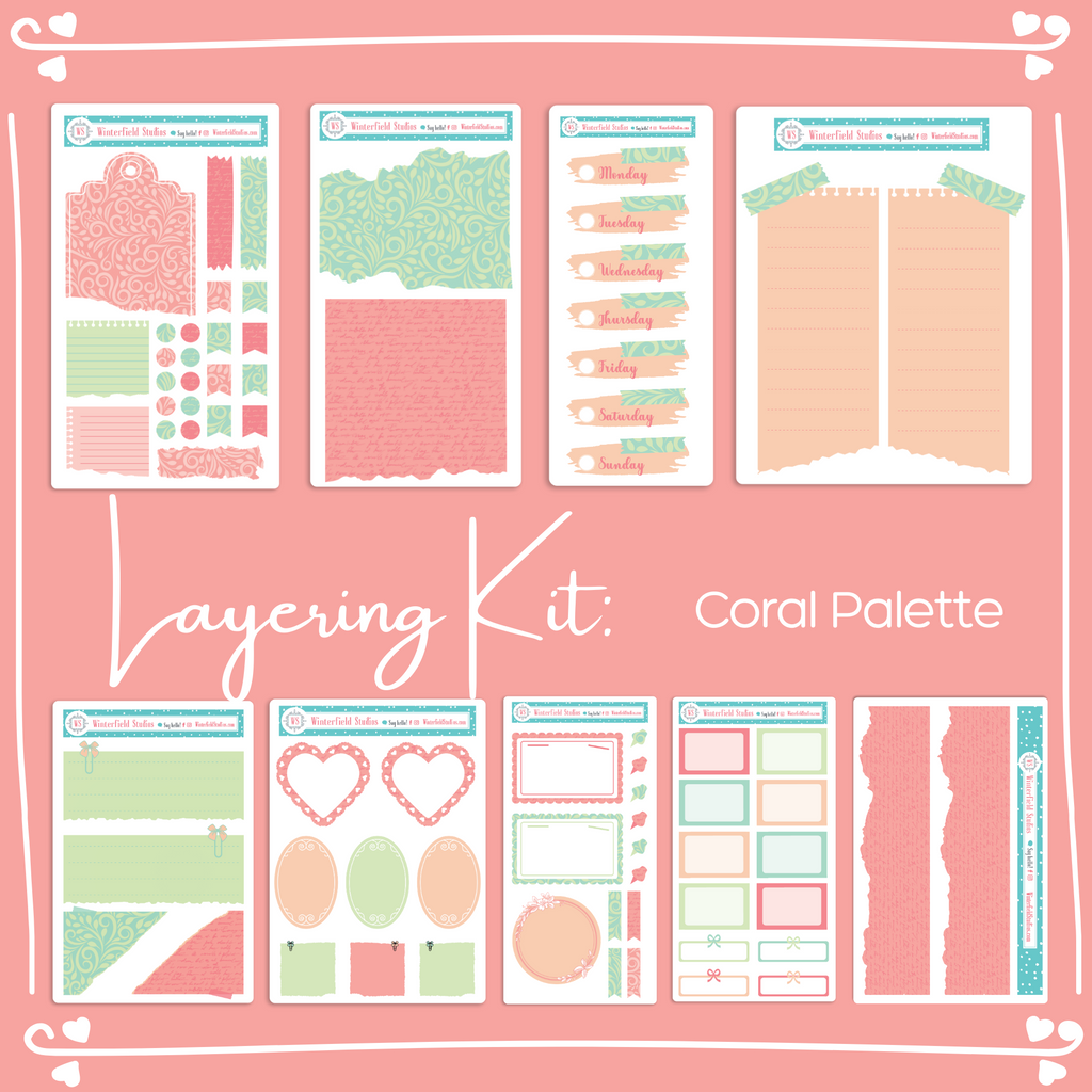 Coral Functional Layering Stickers - Weekly Bullet Journal Sticker Kit
