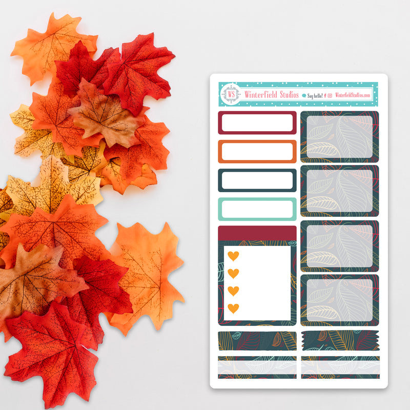 Fall Patterned Half & Quarter Box Stickers - Fits Vertical Planners
