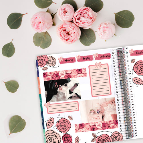 Lady Luxury Rose Bud Art Deco - Fits Bullet Journal - Travelers Notebook - Vertical Planners
