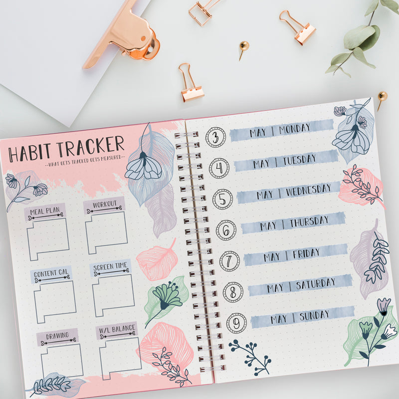 Bullet Journal Floral & Leave Art Deco - Fit Travelers Notebook & Vertical Planners