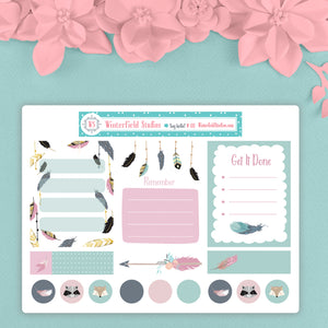 Feather In Your Bow Sampler Planner Stickers - Art Deco Stickers for Spring & Summer - Travelers Notebook - Bullet Journal