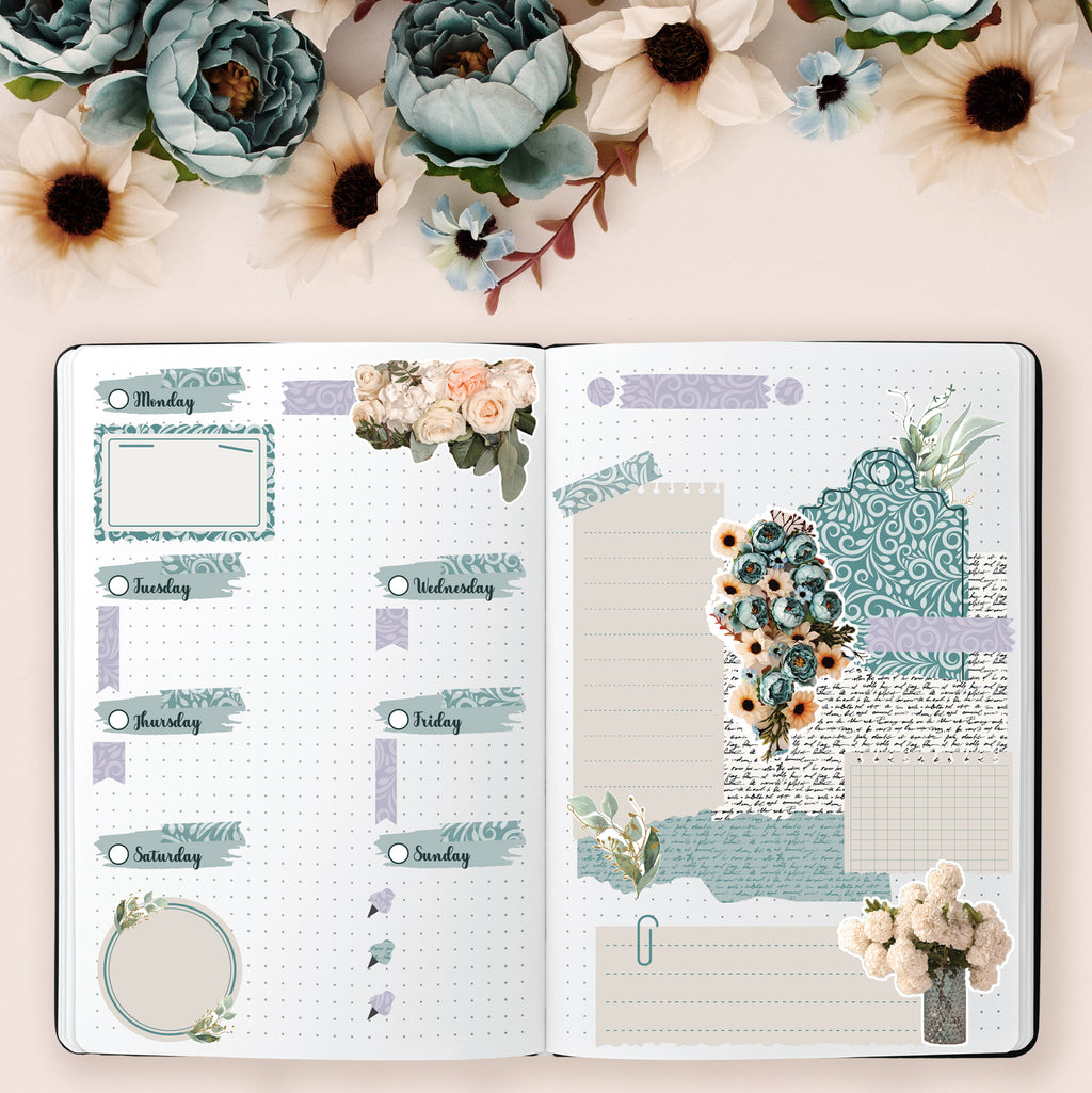 Teal Peonies On The Terrace Weekly Bullet Journal Sticker Kit - Fits Vertical Planners