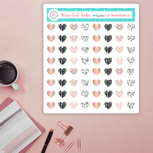 Rose Gold & Black & White Half Circle Stickers - Fits All Planners
