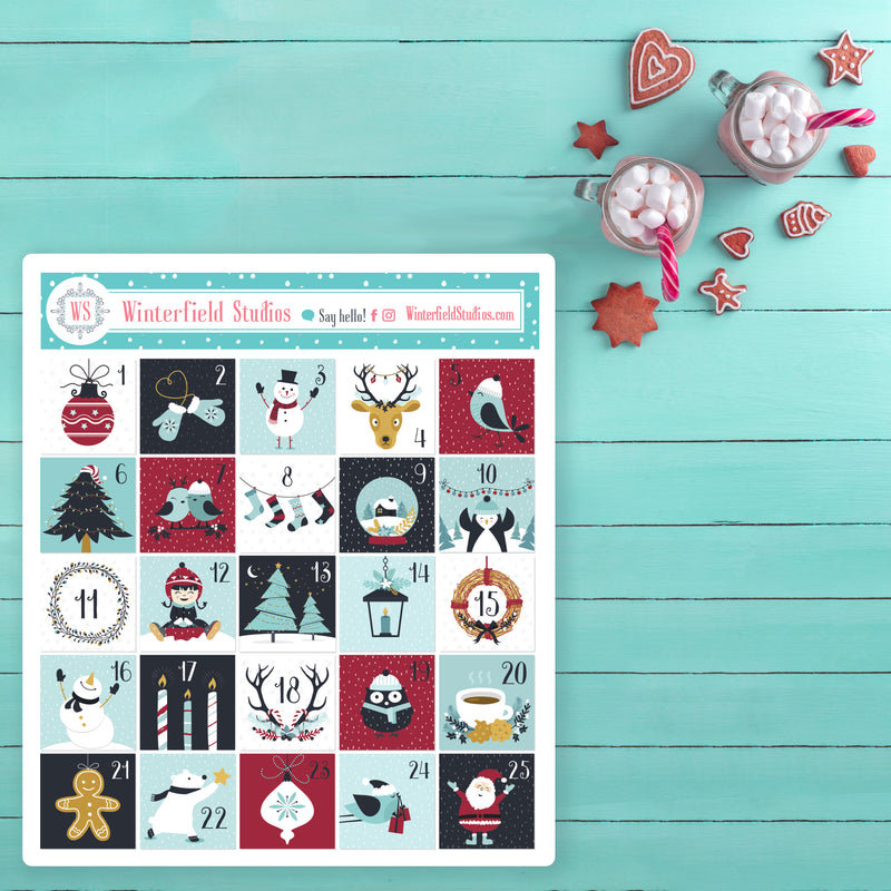 Playful Christmas Advent Calendar Art Deco Stickers