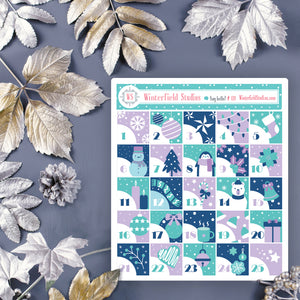 Lavender Advent Calendar Art Deco Stickers