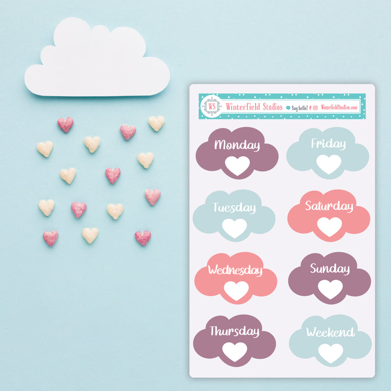 Cloud Days of the Week Stickers - Fits Vertical Planners