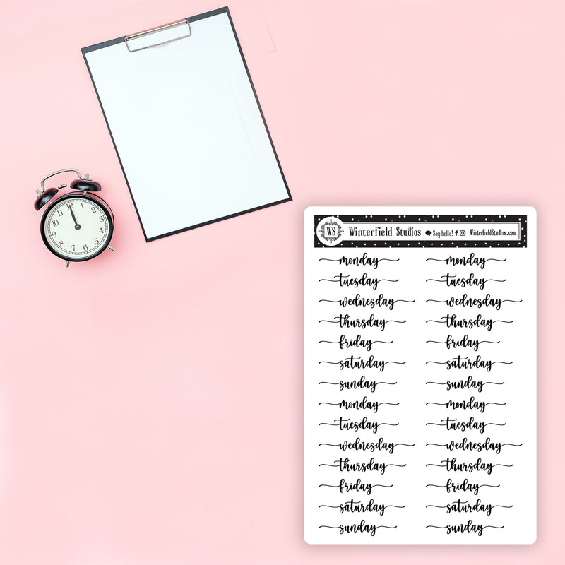 Schedule & Planning Foil Script Stickers - Appointment, Days of Week, Happy Birthday, Anniversary, Weekend, & More Stickers - Fits All Planner Sizes