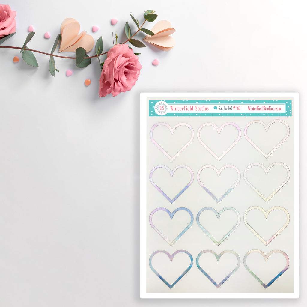 Foiled Heart Full Box Stickers - Functional Planner Stickers