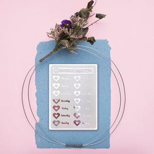 Foiled Heart Date Cover Stickers - Fits Vertical Planners
