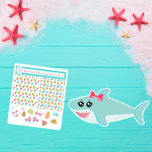Paradise Island Coordinating Shark Die Cut & Beach Sampler Sticker Sheet