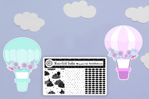 Soaring Coordinating Hot Air Balloon Die Cuts & Cloud Foil Overlay Full Box Stickers