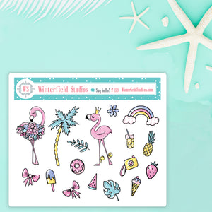 Fun In The Sun Flamingo Art Deco Stickers & Die Cut
