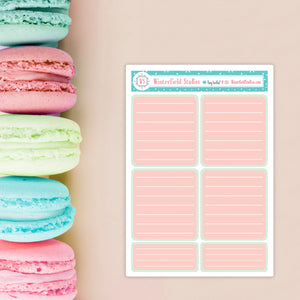 Functional Planner Boxes for the Coral, Peach, & Mint Planner Sticker Kit - Fits Vertical Planners