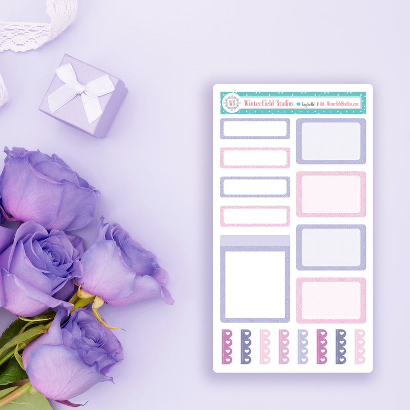 Purple Rose Floral Mini Sticker Kit - Fits Vertical Planners