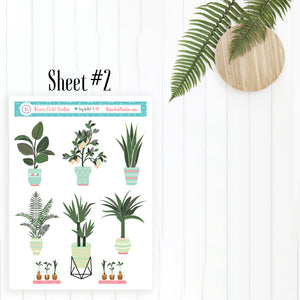 Plant Life Scene Stickers - Gardening Planner Stickers