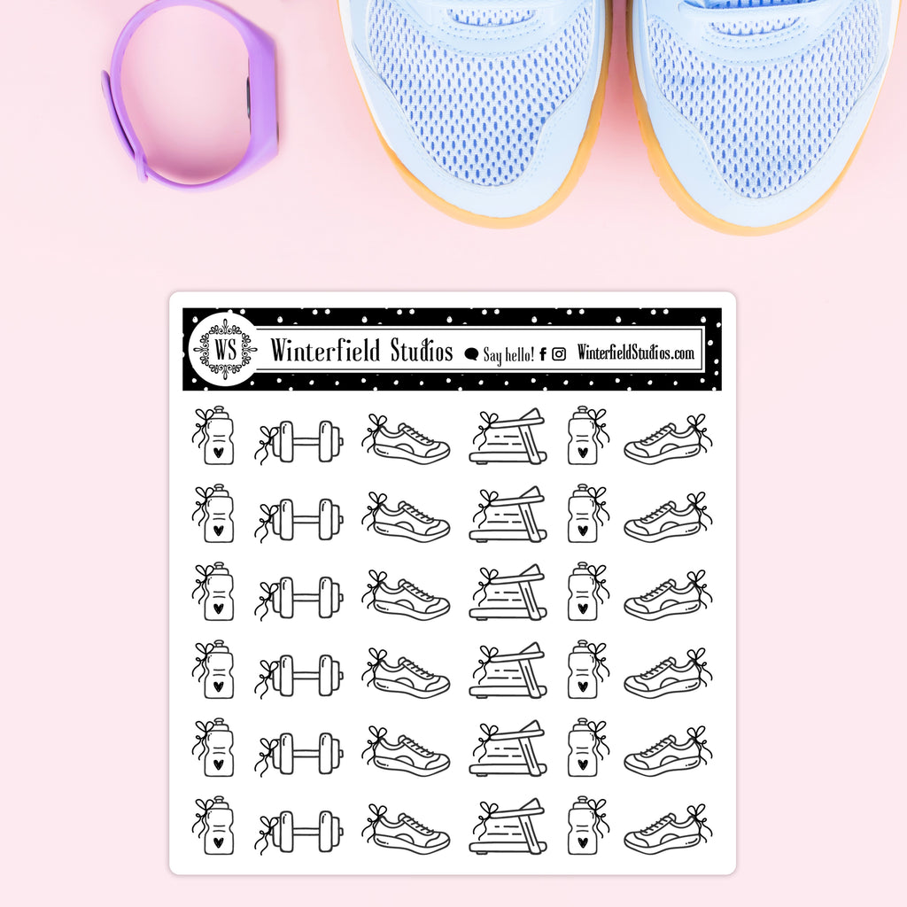 Gym Icon Stickers - Foil Workout Icon Stickers - Fits All Planner Types & Sizes
