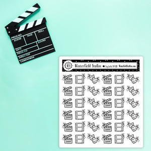 Movie Night Icon Stickers - Foil Movie & Film Icon Stickers - Fits All Planner Types & Sizes