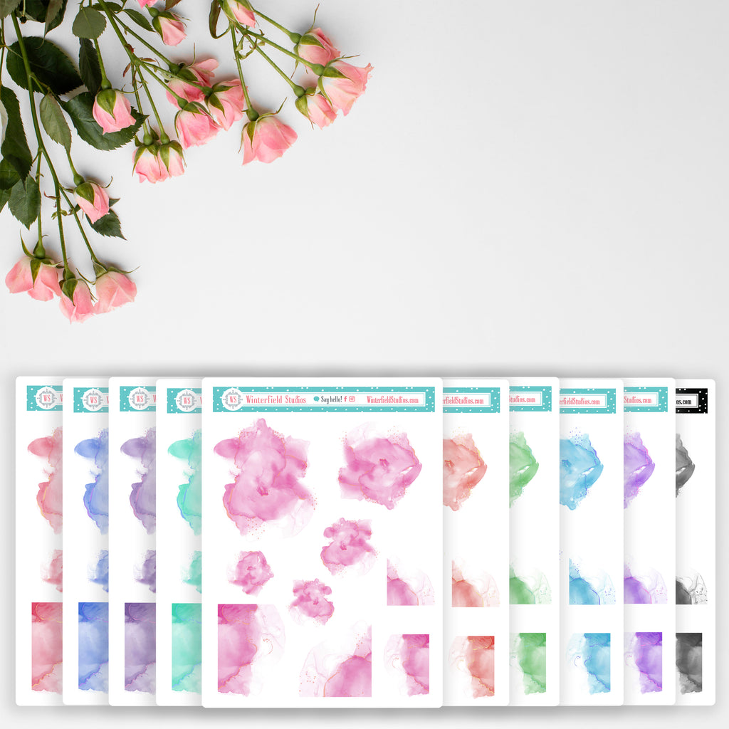 Watercolour Ink Splotches Art Deco Stickers for Planners