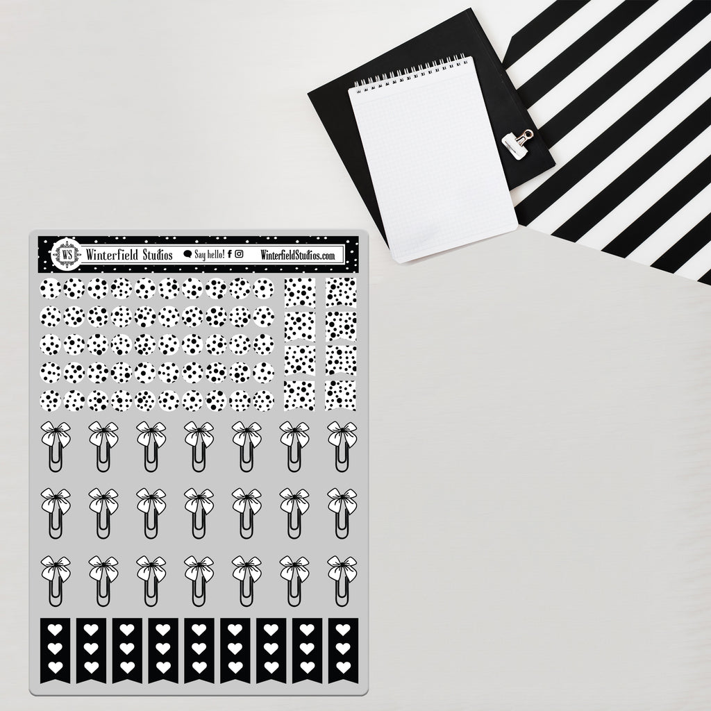 Foiled Dots, Bow Clips, & To Do Lists - Planner Stickers