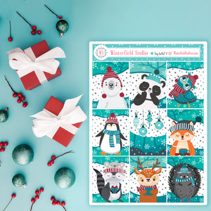 Cute Winter Animals Full Box Stickers - Woodland Creatures - Fits Vertical Planners