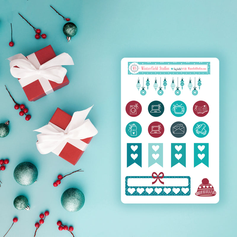 Winter Teal Icon Sticker Sampler - Fits Vertical Planners