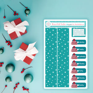 Winter Date Covers & Snow Patterned Washi Stickers - Fits Vertical Planners