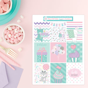 Pastel Birthday Party Full Box Stickers