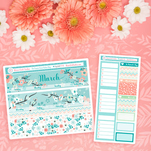March 2021 Monthly Planner Sticker Kit - Spring Stickers - Fits Vertical Planners