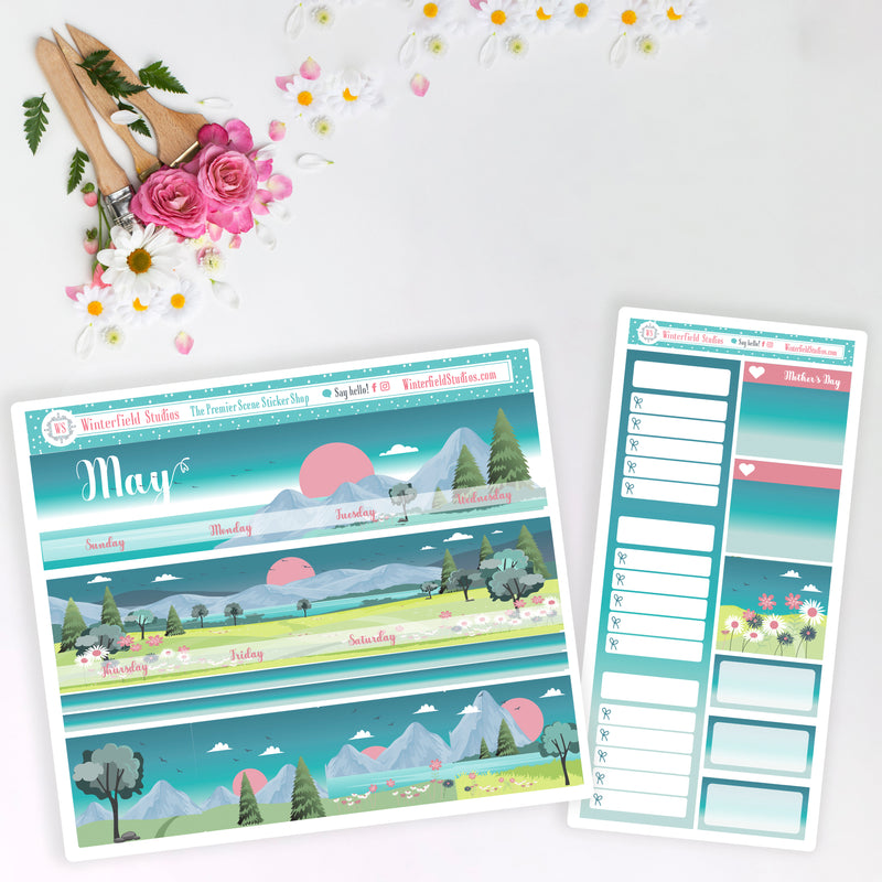 May 2021 Monthly Planner Sticker Kit - Spring Stickers - Fits Vertical Planners
