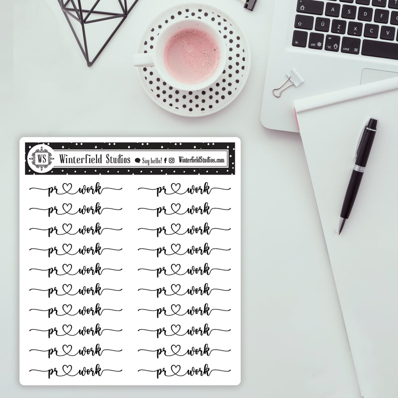 Work Foil Script Stickers - Work, Homework, Project Due, PR Work, Laundry, Study Stickers - Fits All Planner Sizes