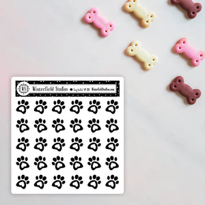 Foiled Pet Paw Icon Stickers - Fits All Planner Types & Sizes