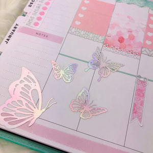 Foiled Small & Large Butterfly Stickers - Art Deco Planner Stickers