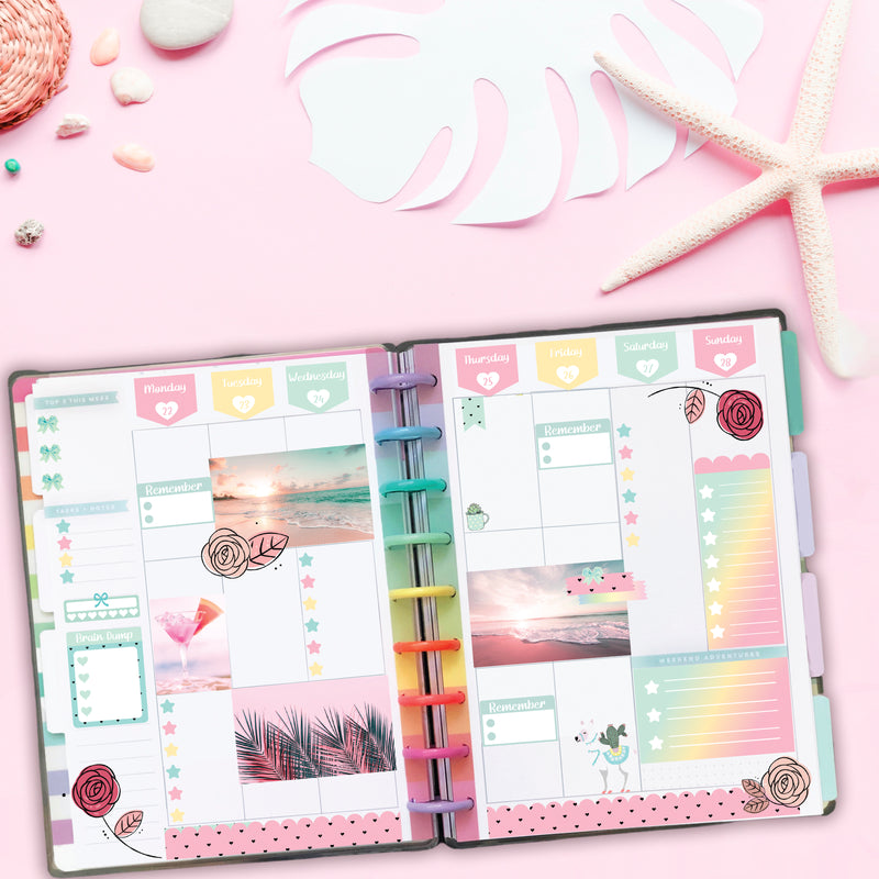 Pastel Hexagon with Hearts Days of the Week Stickers - Fits Vertical Planners