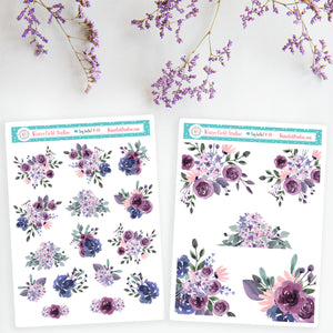 Purple Watercolour Floral Bouquet Arrangement Planner Stickers