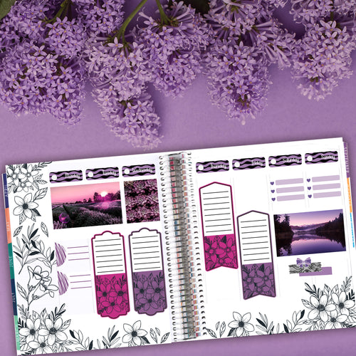 Purple City Reprise Floral Art Deco & Functional Add-On Sheets - Fits Bullet Journal - Travelers Notebook - Vertical Planners