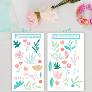 Shabby Chic Floral Art Deco Add-On Sheets - Fits Bullet Journal - Travelers Notebook - Vertical Planners