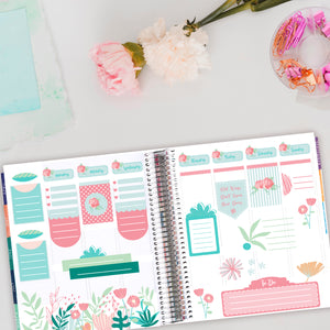 Shabby Chic Rose Planner Scene Sticker Kit - Strawberry Pink Rose Photo Box Stickers Fits Vertical Planners