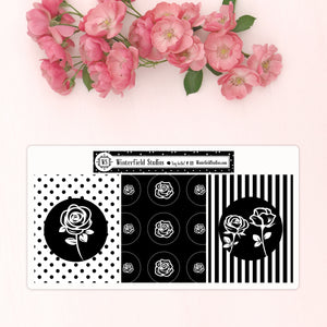 Shabby Chic Rose Coordinating Rose Die Cut & Rose Foil Overlay Full Box Stickers