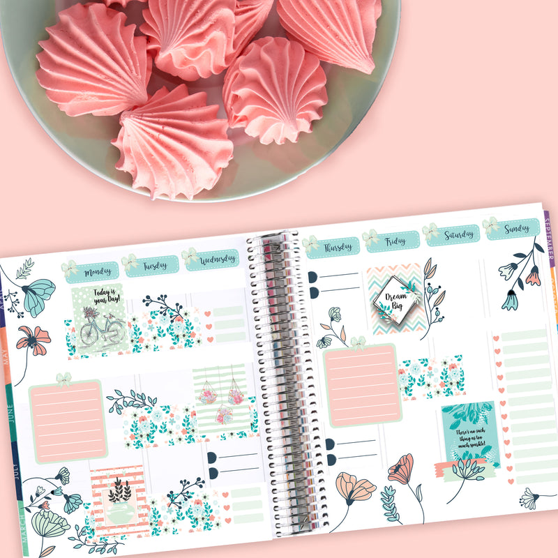 Spring Blooms Floral Art Deco - Fits Bullet Journal - Travelers Notebook - Vertical Planners